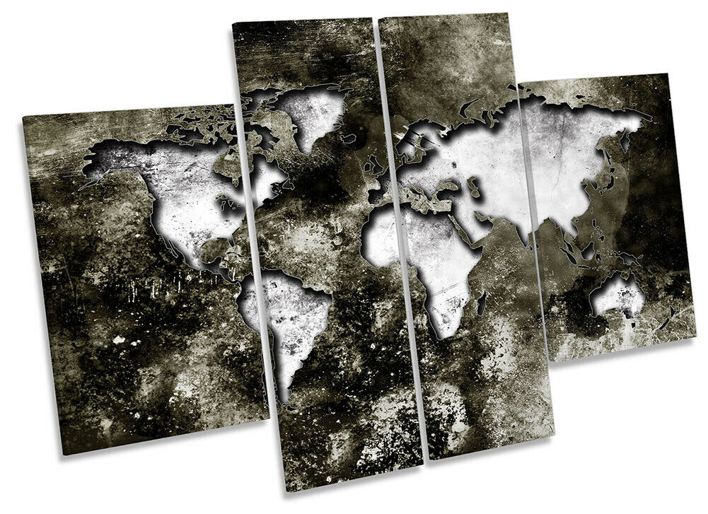 Map of the World Distressed Picture CANVAS WALL ART Four Panel grau