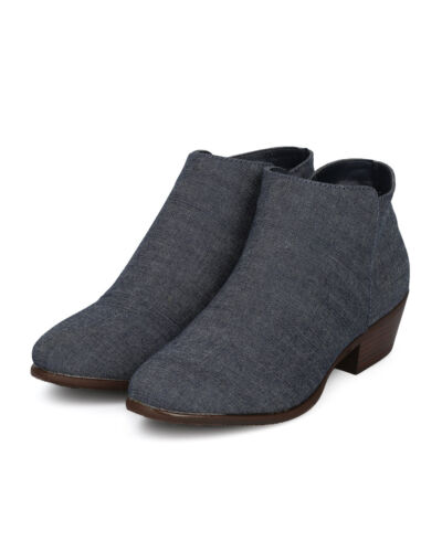 New Women Rider-02 Denim Almond Toe Low Heel Ankle Bootie