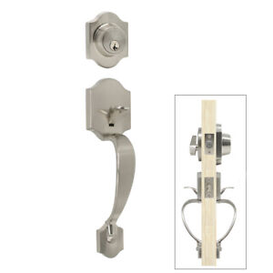 Satin-Nickel-Front-Door-Handle-Set-Entry-Pull-with-Lever-Knob-for-Exterior-9850