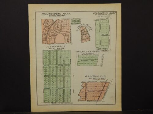 Missouri St. Louis County Map 1893 Central Township Avondale, J.M. Berry's K3#10