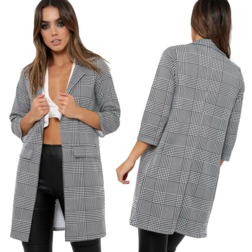 Womens Ladies Hounds Tooth Gingham Check Print Duster Coat Jacket Top UK 6-14