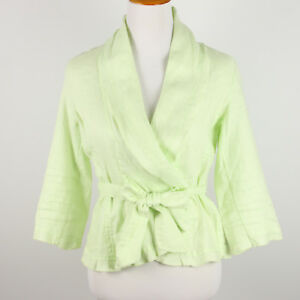 0fb45a8cd8 Image is loading Soft-Surroundings-Linen-Wrap-Jacket-Womens-Small-Green-