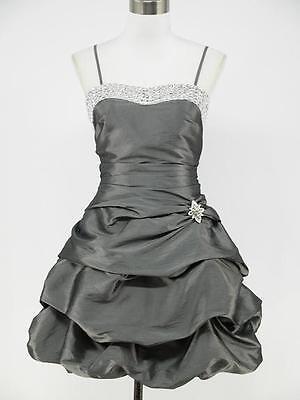 dress190 GREY SATIN PLUS SIZE SPARKLE PROM COCKTAIL BALL EVENING DRESS UK 14-24