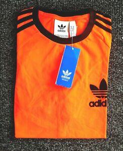 Adidas-Originals-Men-039-s-Trefoil-California-T-shirts-a-encolure-ras-du-cou-T-shirt-orange-noir