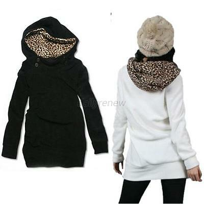 Women Hoodie Sweatshirt Leopard Tops Blouse Sweater Pullover Outwear Coat Jacket