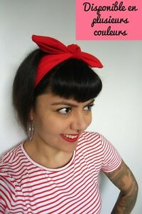 Bandeau Headband Noeud Rouge Bleu Blanc Noir Rose Elastique Coton