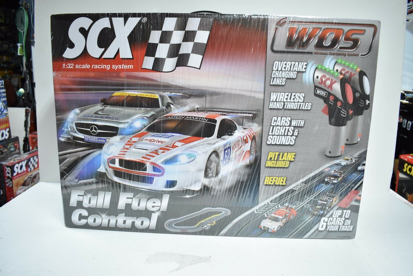 SCX WOS W10135X5U0 1 32 SCALE SLOT CAR FULL FUEL CONTROL DELUXE SET W  PIT LANES