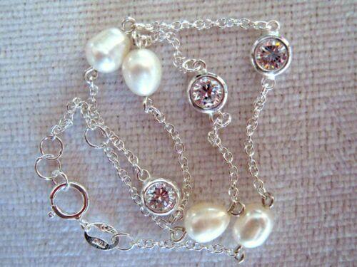 """CZ /& Freshwater Pearl Ankle Bracelet 9/""""-9.5/"""" Italian Sterling Silver .925"""