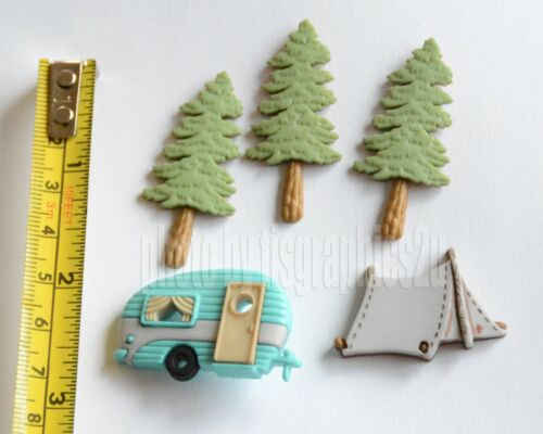 Buttons //Jesse James ~ Dress It Up RV Tent /& Camper Hitting the Trail