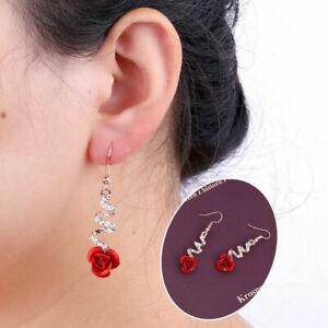 Fashion-Women-039-s-Crystal-Red-Rose-Flower-Dangle-Drop-Earrings-Jewelry-Gift