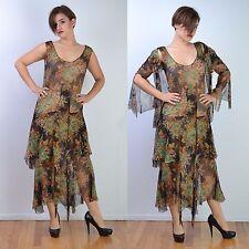 VTG 20s FLORAL Sheer Silk Chiffon Deco Flapper GATSBY PARTY Wedding DRESS S-M