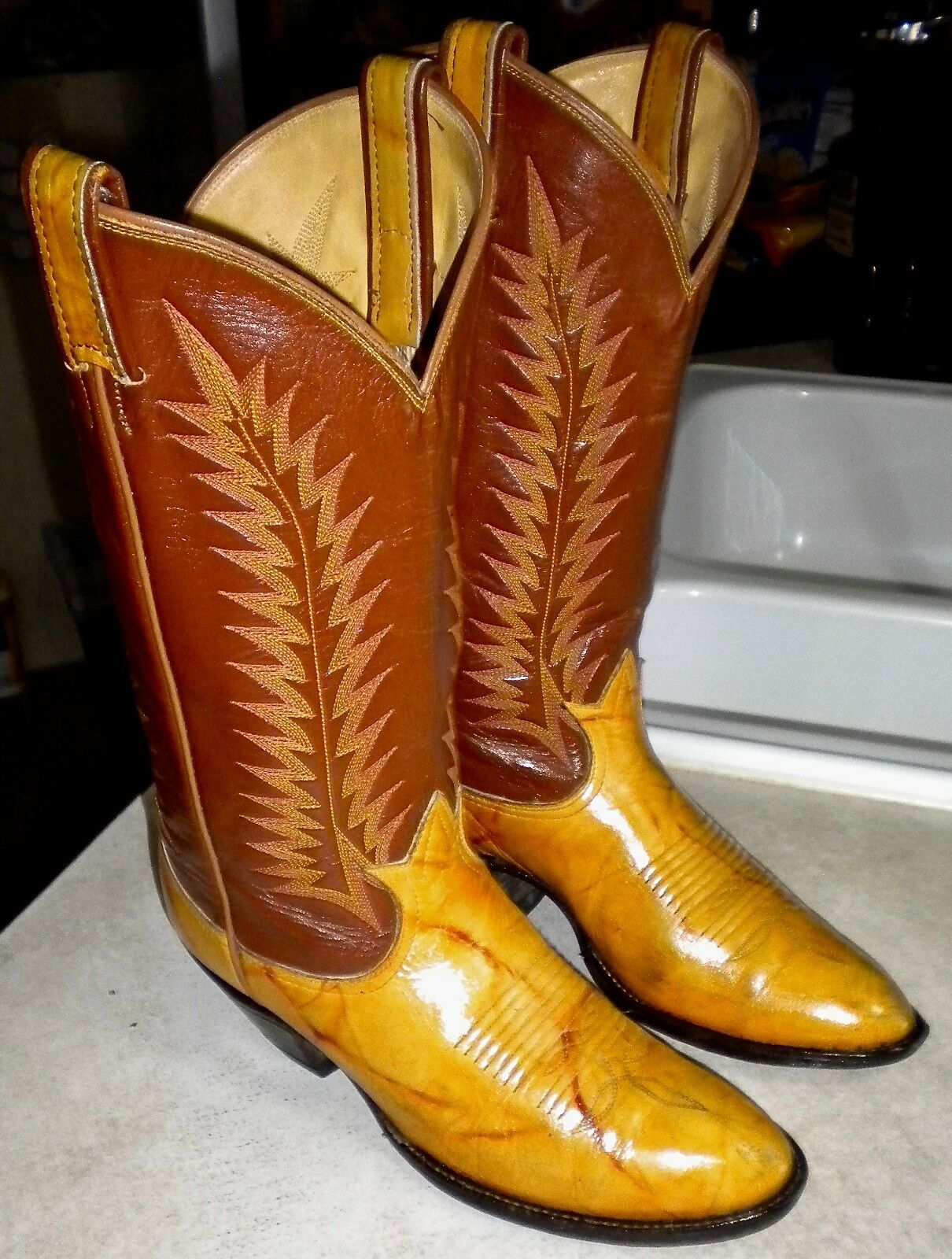WOMENS 6.5 C Tan TONY LAMA El Rey Riding WESTERN BOOTS