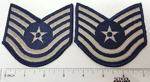 Replacement N.S. Meyer military uniform patches pair (2) Air Force Blue T/SGT