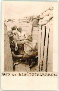 WW1-GERMAN-TRENCH-1916-MILITARY-ANTIQUE-RPPC-PHOTO-POSTCARD