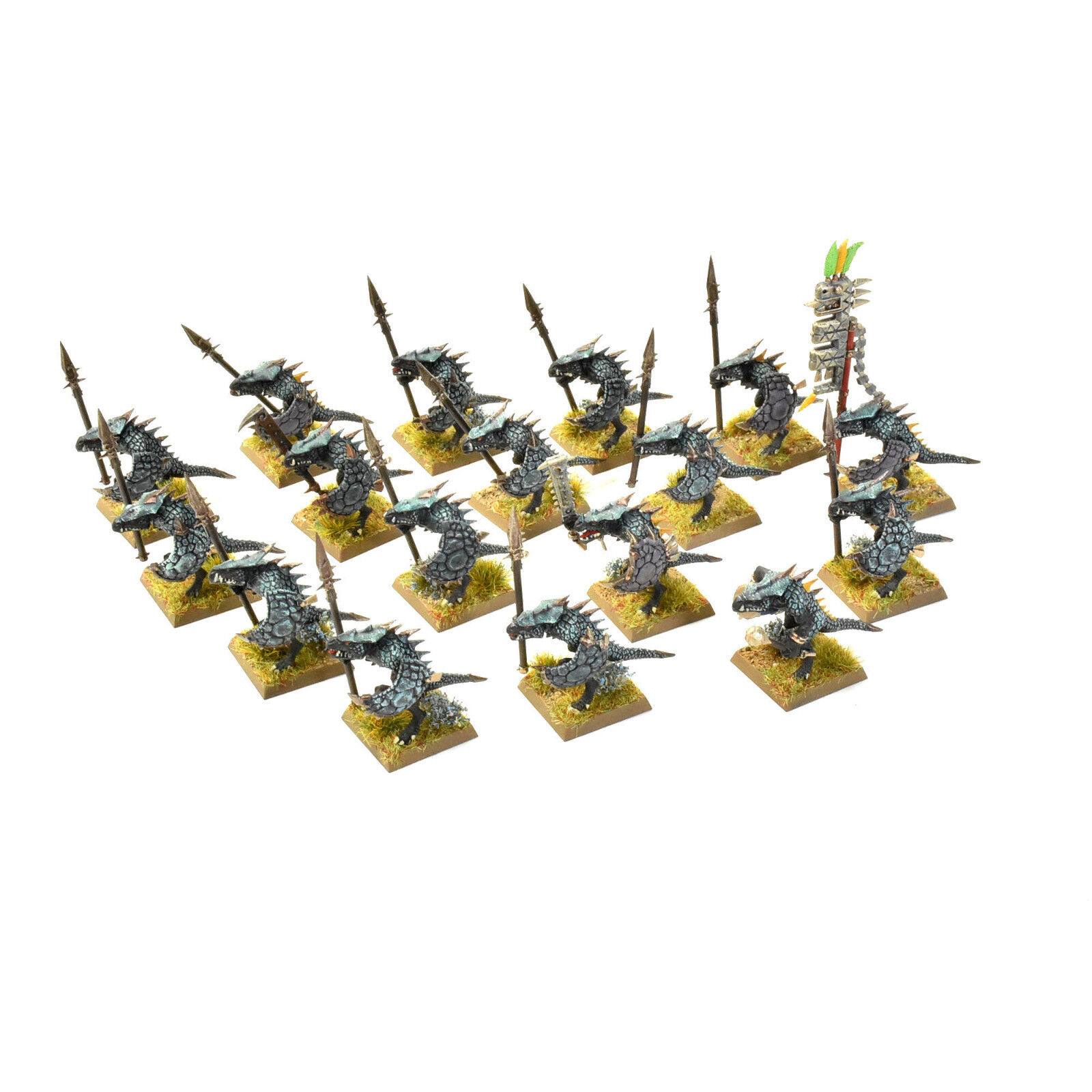 LIZARDMEN 16 Saurus warriors WELL PAINTED Warhammer Fantasy Seraphon
