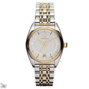 Armani damenuhren gold  Emporio Armani Damenuhr AR0380 Edelstahl Elegant Farbe Silber Gold ...