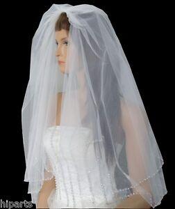 Elegant 2-Tier Wedding Bridal White Elbow Length Veil Beaded Edge With Comb