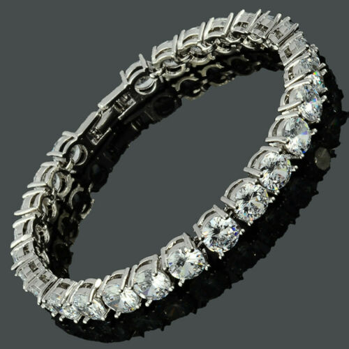 Neu Modeschmuck Damen Geschenk Zirkonia Elegante Weiss Topas Tennis Armband