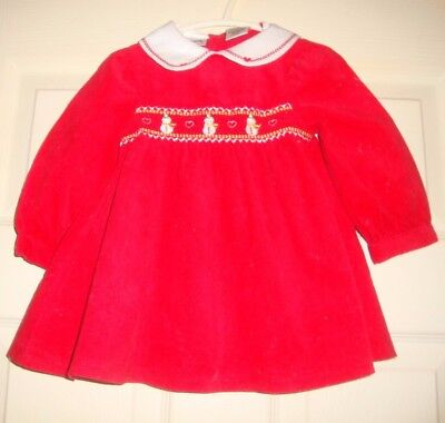 Youngland~girl's~tufted/christmas/embroidered/snowmen/dress! 18/mo Really/cute!