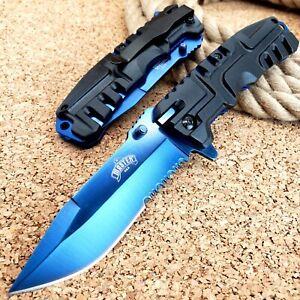 "8.5"" Spring Assisted Open Tactical Folding Pocket Knife Blue Blade Assist EDC"