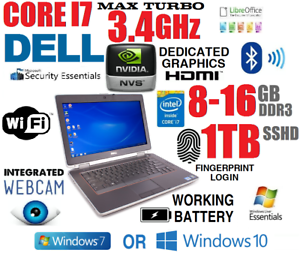 Details about DELL LAPTOP BUSINESS RUGGED CORE I7 TURBO 3 4GHZ NOTEBOOK  DVDRW WIFI SSHD CAMERA