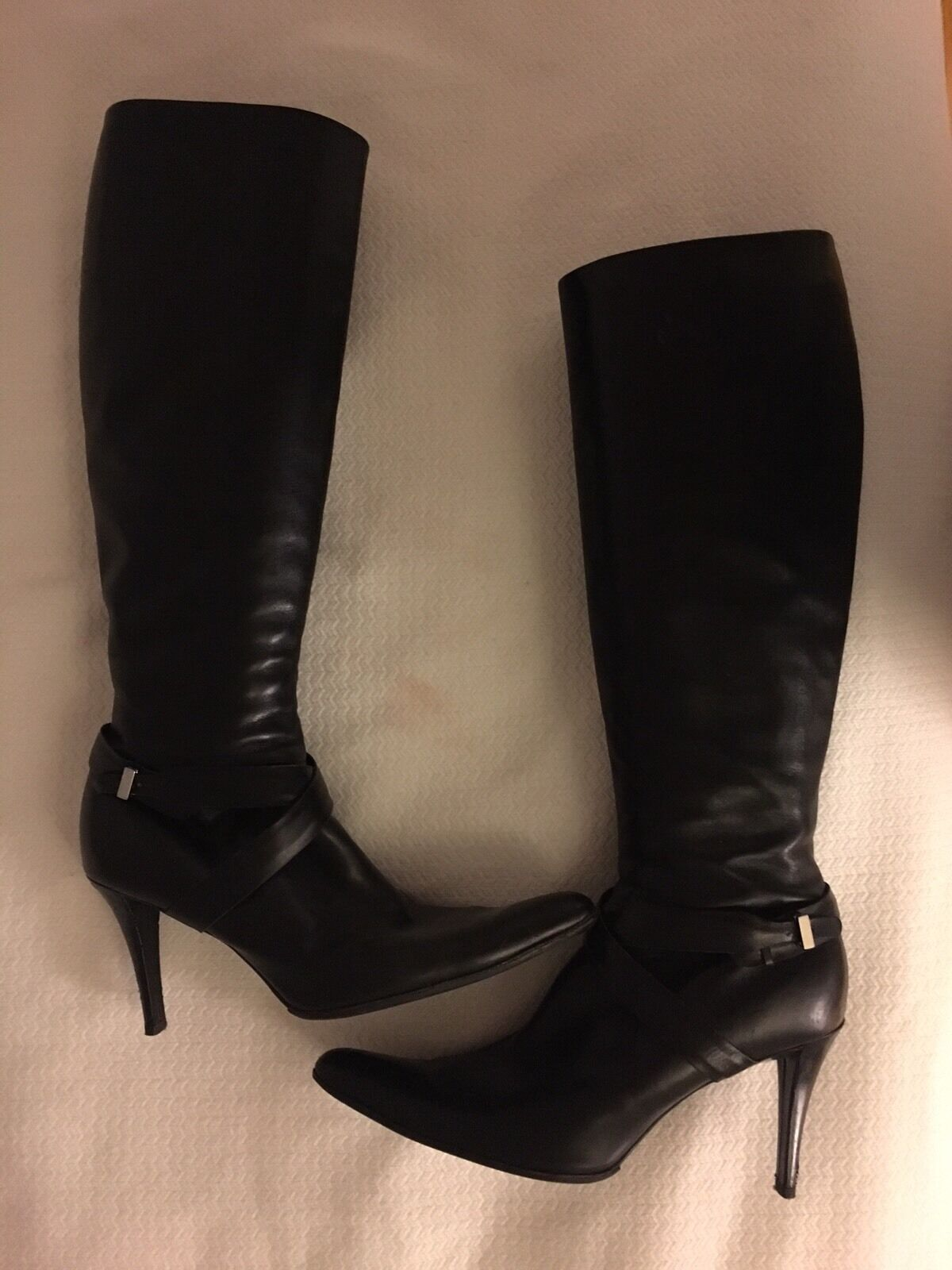 Ralph Lauren Collection Women's Black Leather Boots Knee High 3.5