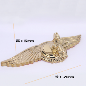 Golden Metal Horse Wing General Car Front Hood Ornament Emblem Badges Sticker