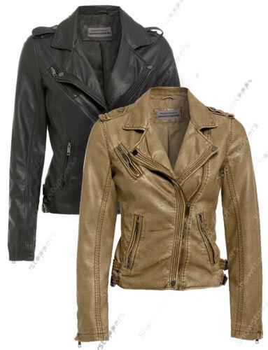 Size 8 10 12 14 16 NEW Women/'s BIKER JACKET PU FAUX LEATHER Ladies Black Brown