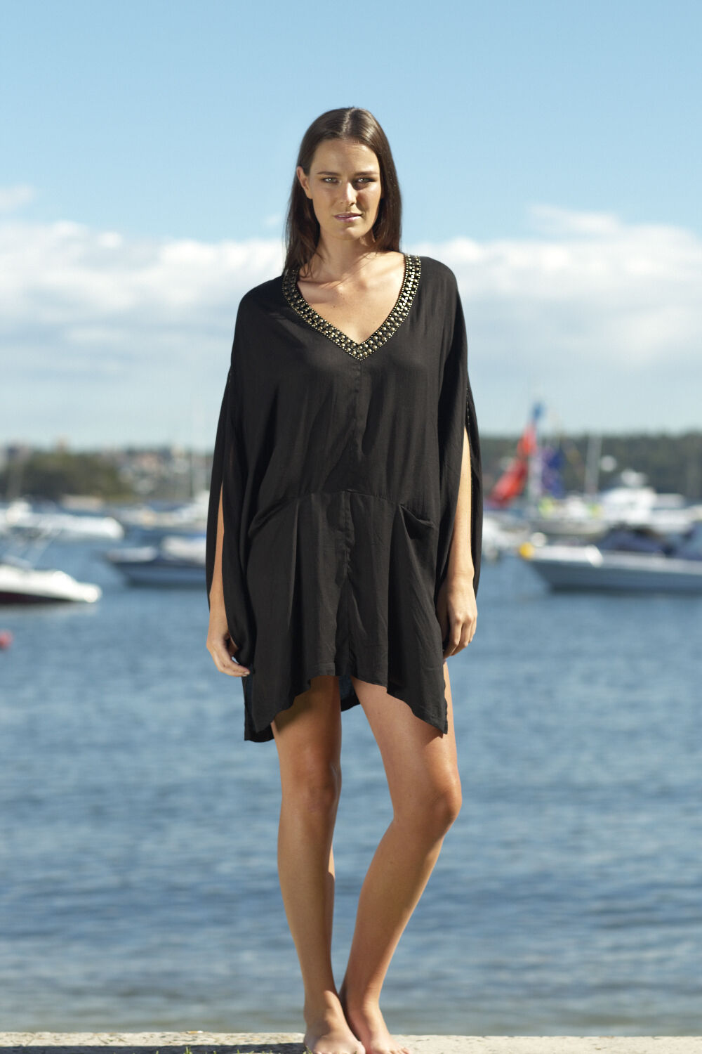 New Ladies Kaftan Dress Boho Knee Length One Größe Small Medium Large Resort Wear