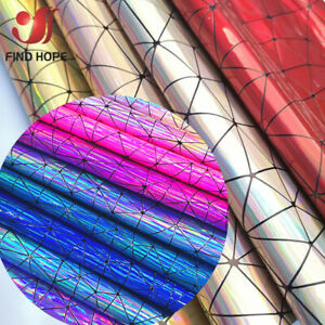 Holographic-Geometric-Iridescent-PU-Leather-Fabric-Bag-Clothing-DIY-Material
