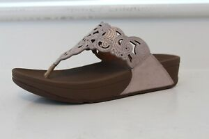 33237dc3e09b0 FitFlop Flora Nude Sparkle Suede Toe Thong Sandals Beige 6 9 MSRP ...