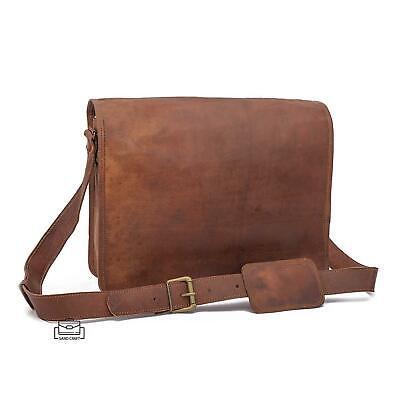 Men/'s Rare Goat Leather Vintage Laptop Messenger Handmade Briefcase Bag Satchel