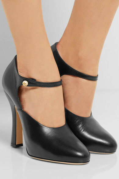 20e2944c7 Gucci Mary Jane Black Leather Platform Pearl Button Pump 36 for sale online  | eBay