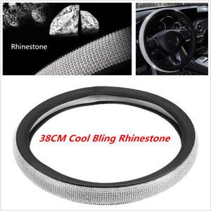 Luxury-Crystal-Diamond-Car-Steering-Wheel-Cover-PU-Leather-Cool-Bling-15-039-039-38cm