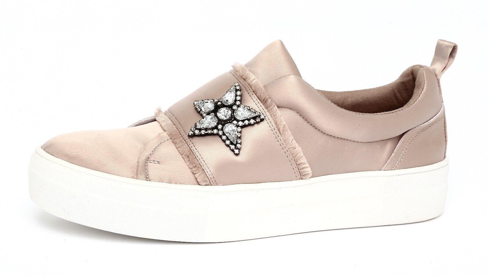 Steve Madden Women's Taupe Satin Graphic Fashion Sneaker Sz 8.5M 4633
