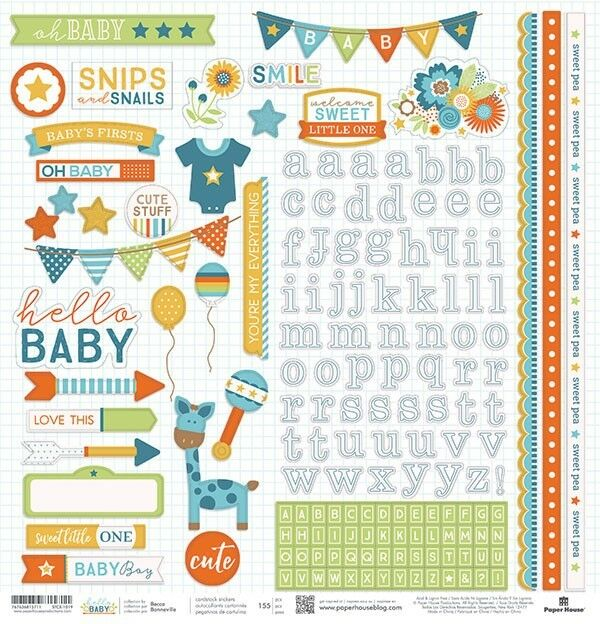 Paper House Hello Baby Boy Pregnancy Infant 12x12 Cardstock
