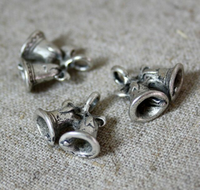 Antique Silver charm, pendant bells - pack of 20