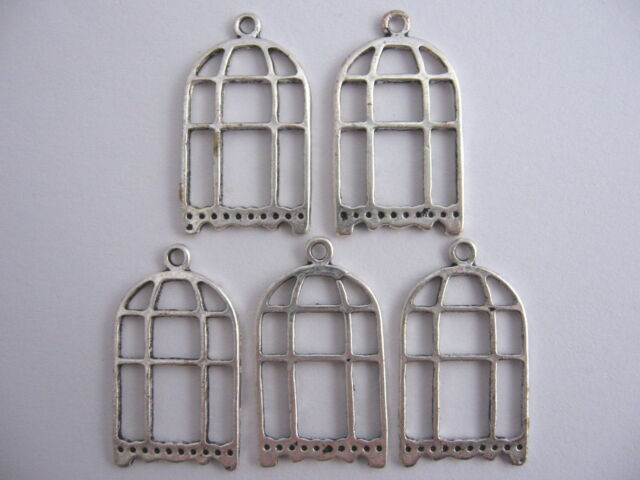 CLEARANCE 20 Silver Bird Cage Metal Jewellery Charms 15x27mm