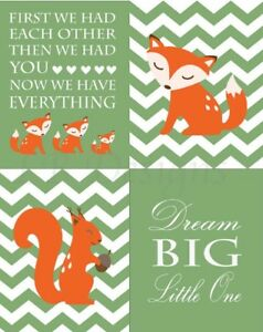 Image Is Loading Orange And Green Woodland Nursery Print Boy Fox