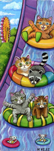 Raccoon Kitten Mouse Water Slide Amusement Park Ride Double ACEO Painting Print