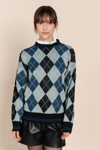 Green-Argyle-Sweater-with-Removeable-Collar-Preppy-Jumper-BNWT-Oversized-Y2K-80s