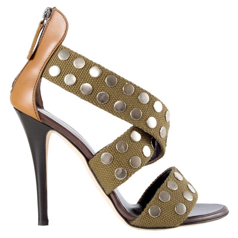 41855 Auth Giuseppe Zanotti Zapatos Sandalias Sandalias Sandalias De Lona Con Tachas militar 39  estilo clásico