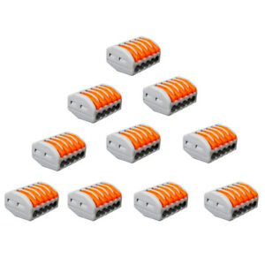new-10pc-Electric-Spring-Lever-Terminal-Block-Cable-Wire-Connector-5Way-Pin