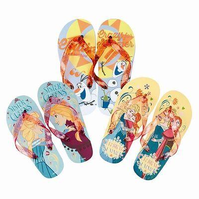 Girls Frozen Flip Flops with Glitter Strap ~ Sizes UK 6 - 13