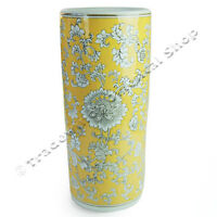 Imperial Yellow Umbrella Stand With Leafy Flower Design