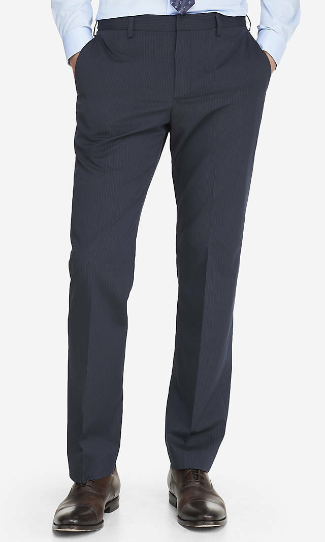 NEW EXPRESS  NAVY PINSTRIPE CLASSIC PRODUCER DRESS PANT SZ 36 32