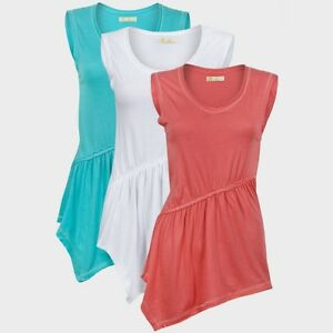 White-Blue-Pink-Summer-Holiday-Asymmetrical-Sleeveless-Cotton-Tunic-Top-S-M-L