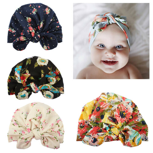 Newborn Girls Floral Bowknots Head Turban Wrap Toddler Baby Beanies Sleeping Cap