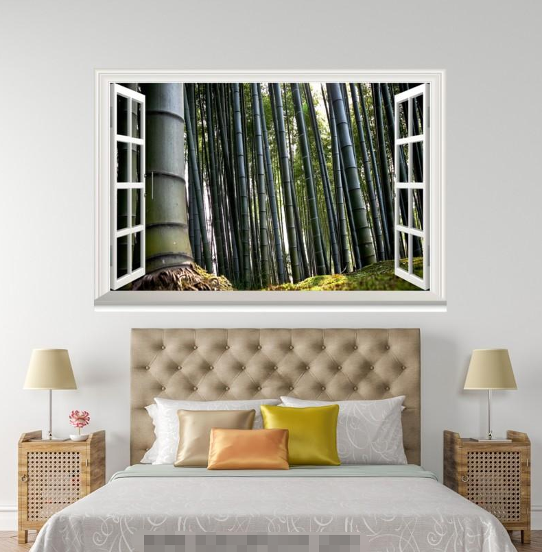3D Bamboo Plant 406 Open Windows Mural Wall Print Decal Deco AJ Wallpaper Ivy