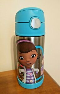 Disney-Doc-McStuffins-Thermos-Funtainer-Straw-Bottle-12-oz-Stainless-Steel